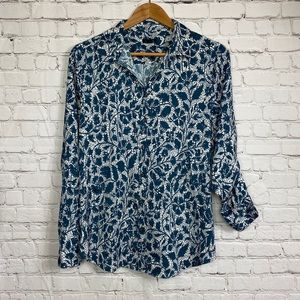 Ann Taylor Blue Rose Vine Button Down Shirt